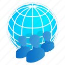 business, global, globe, isometric, map, people, team icon
