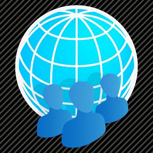 business, global, globe, isometric, map, people, team icon