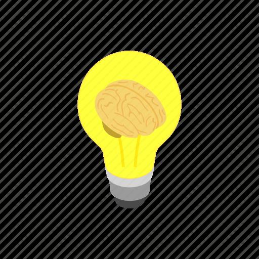 brain, bulb, innovation, isometric, lamp, light, power icon