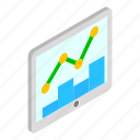 business, chart, growth, isometric, screen, success, tablet icon