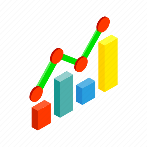 business, chart, financial, forecast, growth, isometric, success icon