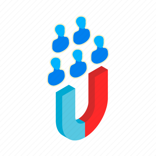 attract, business, businessman, client, isometric, magnet, people icon