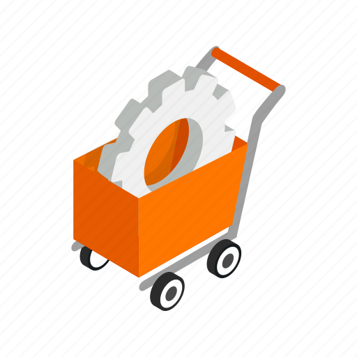 business, cart, cogwheel, isometric, sale, shop, shopping icon