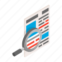 daily, glass, isometric, magnifying, news, newspaper, publication icon