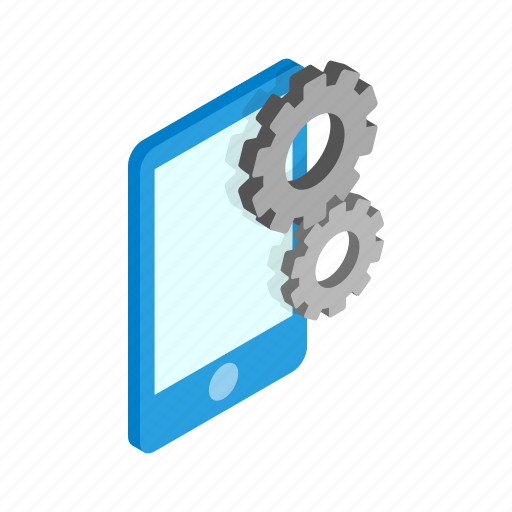 business, gears, isometric, phone, smartphone, technology, work icon
