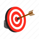 arrow, business, center, hit, isometric, marketing, target icon