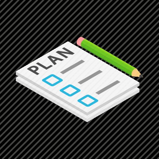 checklist, isometric, list, note, paper, pencil, plan icon
