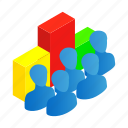 business, chart, growth, isometric, people, team, world icon