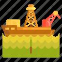 drill, drilling ship, oil drilling, ship icon