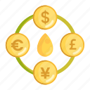 currency, currency exchange, foreign, foreign currency, oil commodity, oil price, petrodollar icon