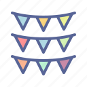 bunting, decoration, festival, garland icon