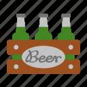 beer, beverage, bottle, pack, case, crate, box