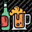 alcohol, beer, bottle, mug icon
