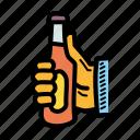 beer, bottle, cheers, party
