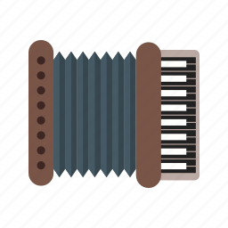 accordion, instrument, keyboard, music, musical, musician, red icon