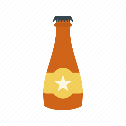 alcohol, beer, bottle, brown, glass, white icon