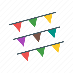 banner, birthday, bunting, colorful, flag, garland, party icon