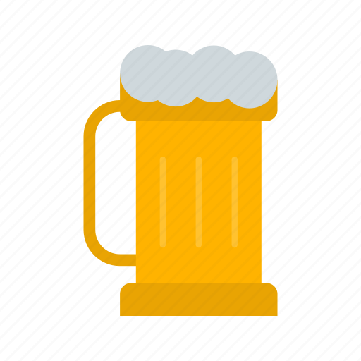 beer, bubbles, drink, glass, pint, pub, yellow icon