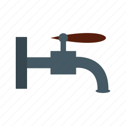 faucet, metal, pipe, stream, tap, water, white icon