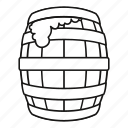 barrel, beer, drawn, line, outline, vintage, wood icon