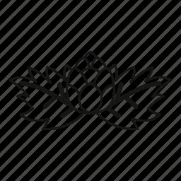 cone, fresh, hop, leaf, line, outline, stem icon