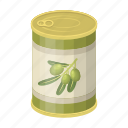 can, conserves, food, marinade, olives icon