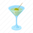 alcohol, drink, glass, martini, olive icon