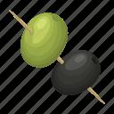 food, olive, skewers, snack icon