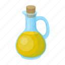 cork, dishes, glass, oil, olive, storage, vessel