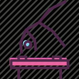 artistic, games, gymnast, gymnastics, horse, olympics, pommel icon