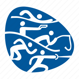 games, modern, olympic, pentathlon, running, sport, swimmnig icon