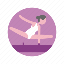 athletics, girl, gymnastics, olympic, pommel horse, sport, swimsuit icon