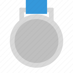 place, ribbon, second, silver icon