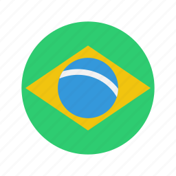 brazil, country, flag, round icon
