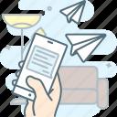 conversation, message, mobile, send, smartphone, talk, tel