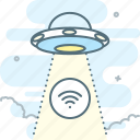abduction, flying saucer, not found, ufo, wifi icon