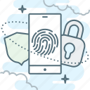 fingerprint, lock, sequrity, shield, smartphone icon