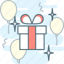 balloons, birthday, congratulation, gift, gift box, present icon
