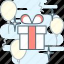 balloons, birthday, congratulation, gift, gift box, present