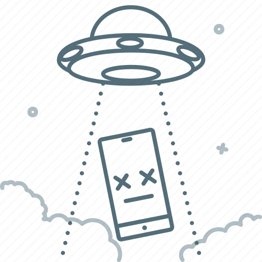 Abduction, flying saucer, not found, smartphone, ufo icon - Download on Iconfinder