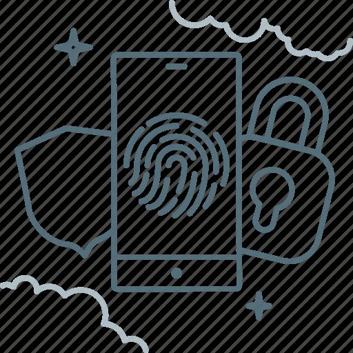 Fingerprint, lock, sequrity, shield, smartphone icon - Download on Iconfinder