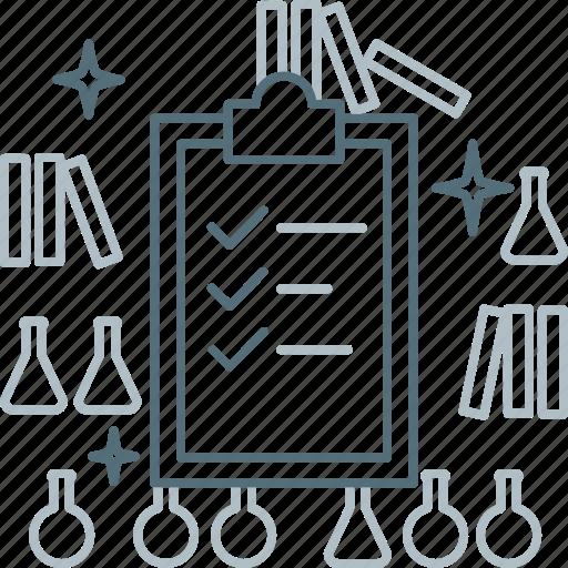 check, checklist, clipboard, laboratory, test icon