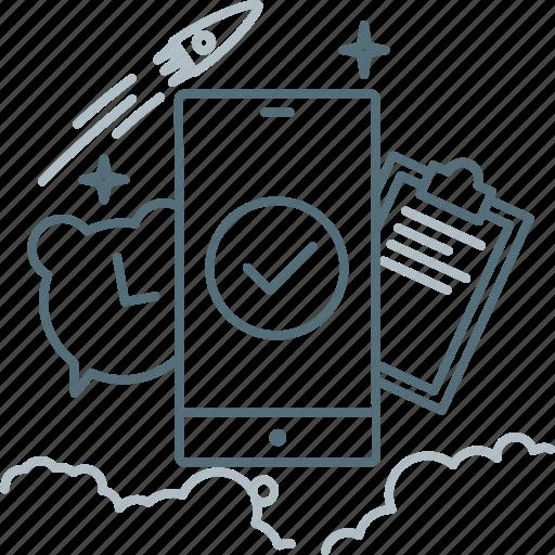 Alarm, check, clipboard, clock, smartphone, proactive icon - Download on Iconfinder