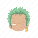 anime, cartoons, fictional character, one piece, pirate, swordsman, zoro icon