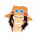 ace, anime, cartoons, fictional character, one piece, pirate, pirate adventurer icon