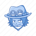 ace, anime, cartoons, fictional character, one piece, pirate, portgas d.ace icon
