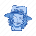 ace, anime, cartoons, fictional character, one piece, pirate, portgas d. ace icon