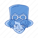 anime, cartoons, fictional character, one piece, pirate character, pirate commander, sabo icon
