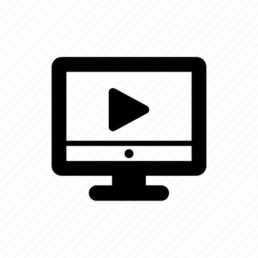 computer, movie, music, play, video, website icon