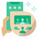 conference, meeting, online, online conference, meeting online, live chat icon